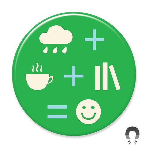 Rain Coffee Books Magnet