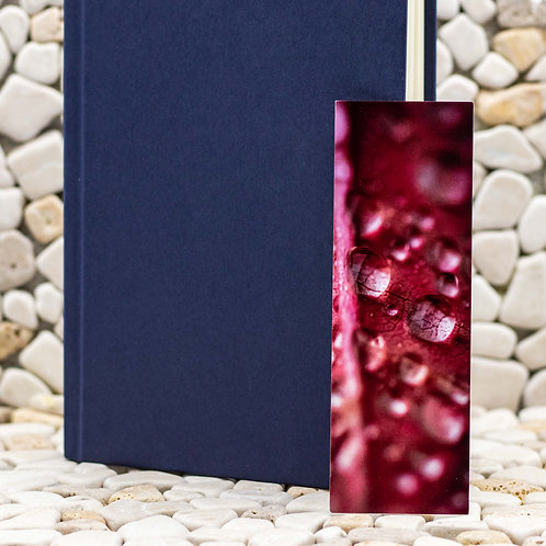 Red Leaf with Water Droplets Bookmark