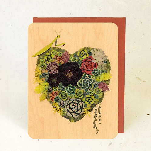 Succulent Heart Wood Greeting Card