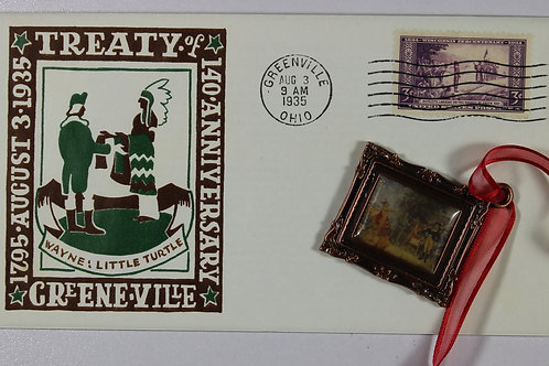 Canceled 1st day envelope and Treaty of GreeneVille ornament