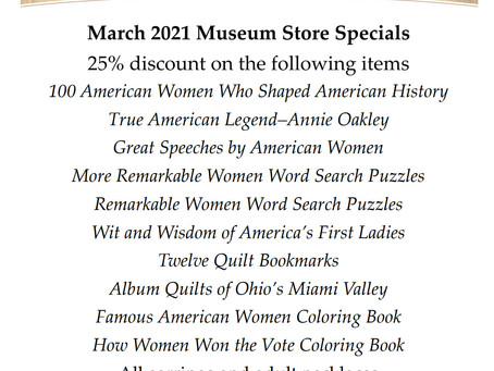 Garst Museum Store March 2021 Specials