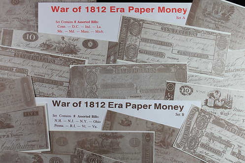 War of 1812 sets A & B replica currency