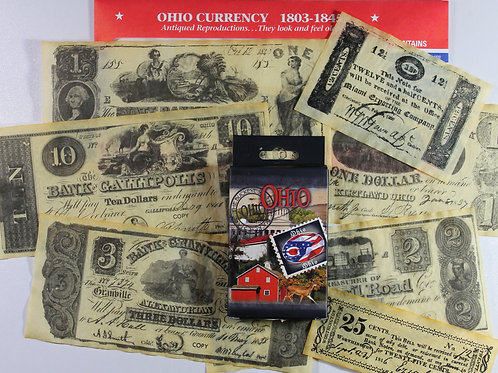 Ohio themed card deck and replica Ohio Currency 1803-1845