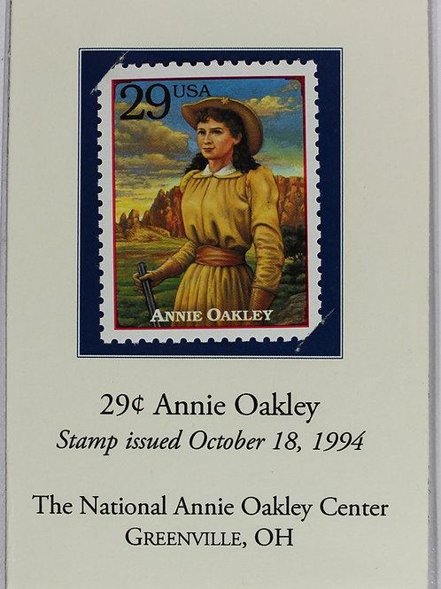 Annie Oakley stamp on card