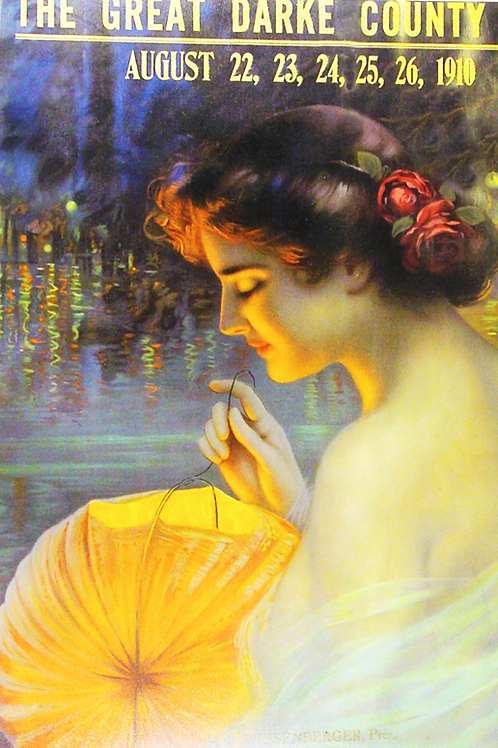 Young woman in the style of American painter, Maxfield Parrish, 1910