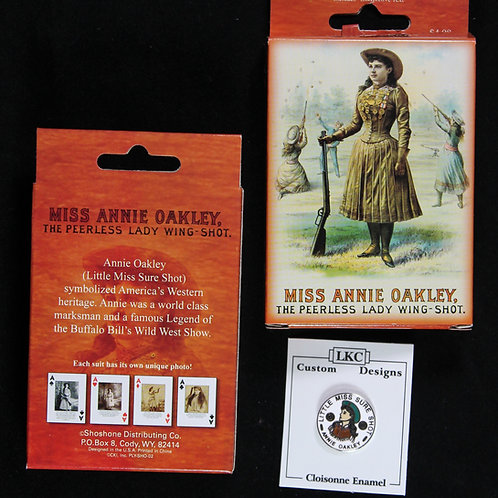 Annie Oakley card deck and Annie Oakley lapel pin