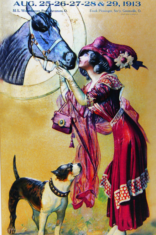 Lady in red with a horse and dog, 1913
