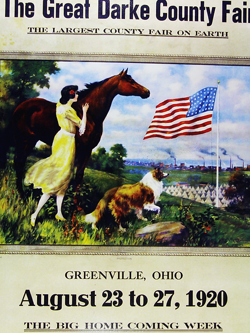 Patriotic Themed with a Girl, Horse, Dog and the Flag, 1926
