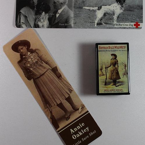 Annie's Treasure box, Annie Oakley and Dave bookmarks