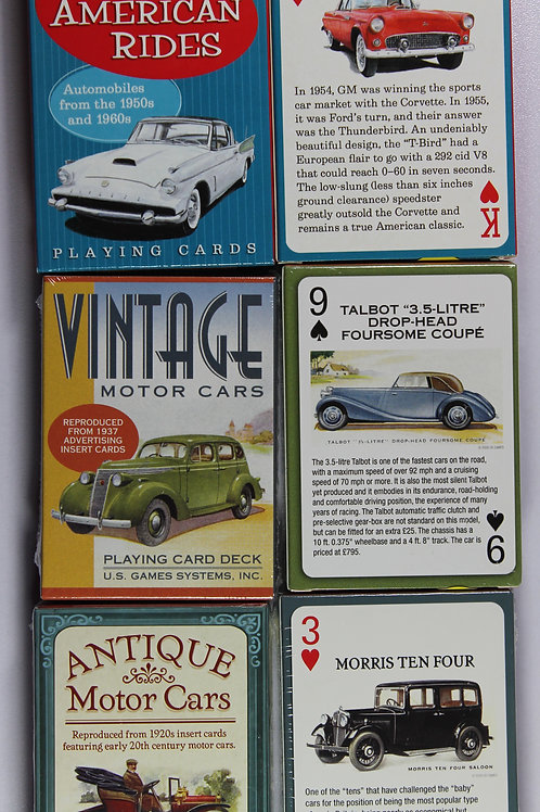 Three Automobile themed card decks