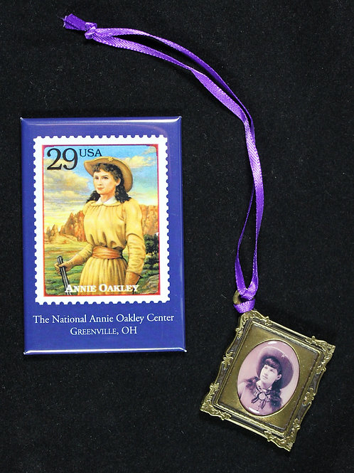 Annie Oakley stamp magnet and Annie Oakley ornament