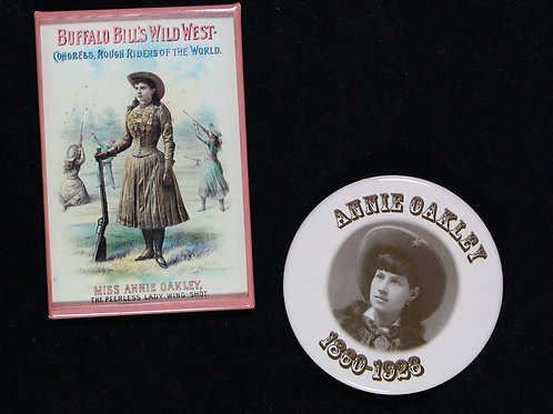 Peerless wingshot poster magnet and Annie Oakley pin badge