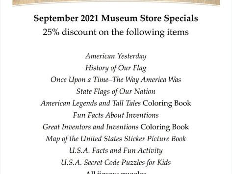 September 2021 Garst Museum Store Specials