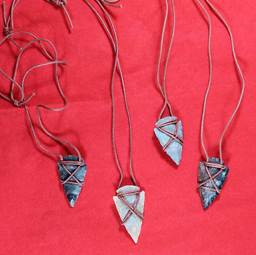 Stone arrowhead with leather cord necklace