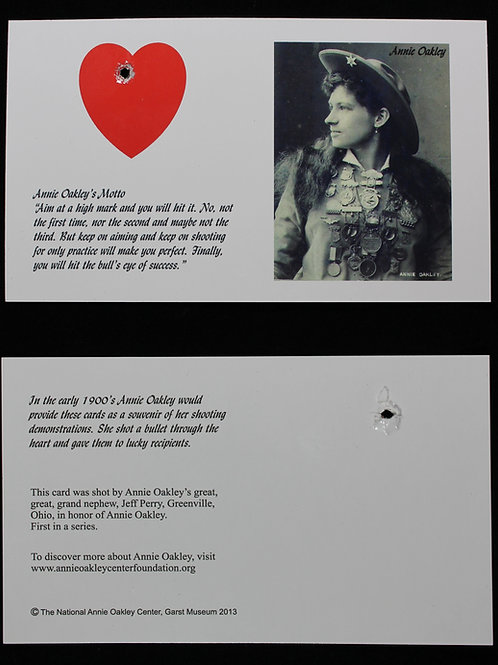 Annie Oakley shot heart replica promotional card