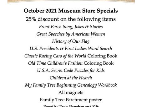 October 2021 Garst Museum Store Specials