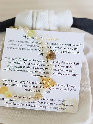 HONEY | Armband mit Bernstein, Heilstein Citrin und wahlweise vergoldete Biene