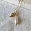 Thumbnail: SANTORIN | 24k vergoldete Kugelkette mit Keshi-Perle und Muschel-Anhänger