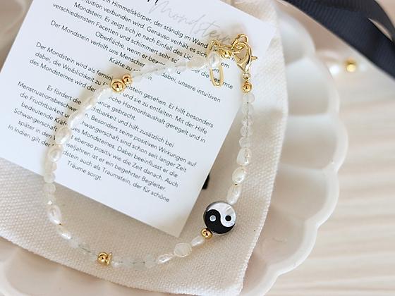 MAYA | Armband mit Heilstein Mondstein und Yin-Yang Perle