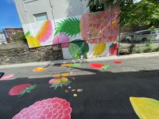 Sury Chavez's fruit salad mural leaps onto the roadway
