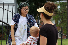 Aliyah Saldana confers with program curator Claudia Paraschiv