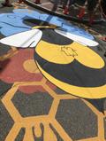 Detail of the bee mural in Chelsea Sqaure