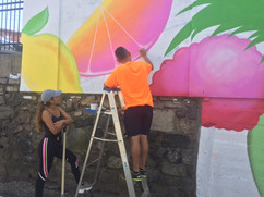 Sury Chavez mural in process