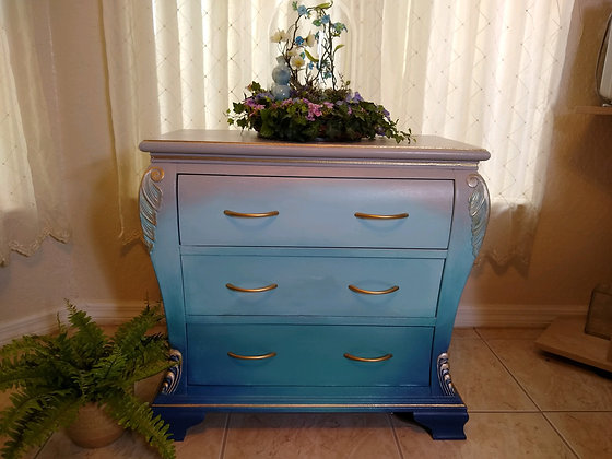 (SOLD) 3 Drawer Ocean Bombay Chest