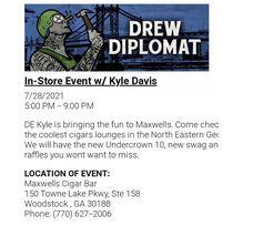 Drew Estate Event Wednesday 7-28-21 5-9pm