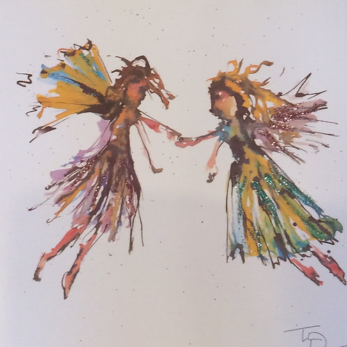 'Fairies' Glittered Greeting Card