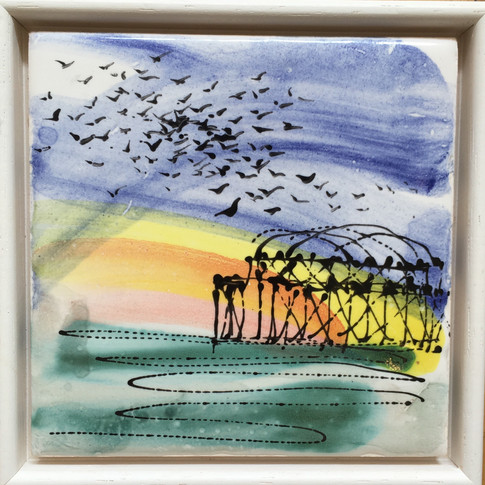 Starlings at West Pier Framed Picture Tile