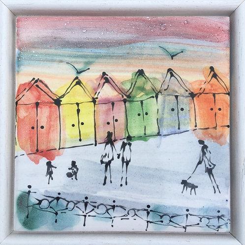 Beach Huts Framed Tile