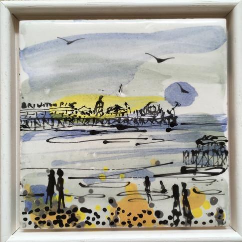 Brighton Beach Framed Picture Tile