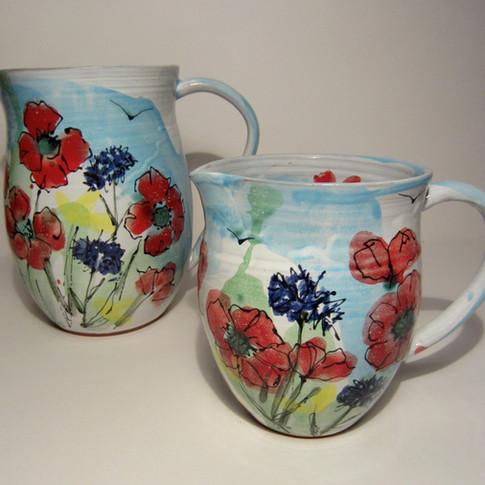 Poppy and Cornflower Jugs