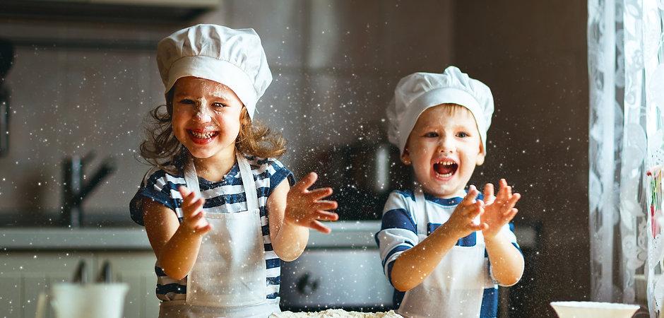 happy family  funny kids are preparing t