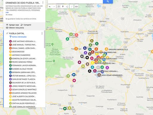 MAPA DE CRÍMENES DE ODIO POR HOMOFOBIA Y TRANSFOBIA EN PUEBLA