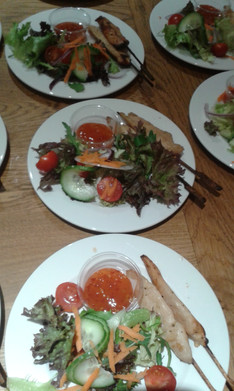 Chicken Skewers and Salad