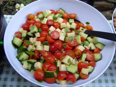 Mozzerella Tomato Cucumber and Basil