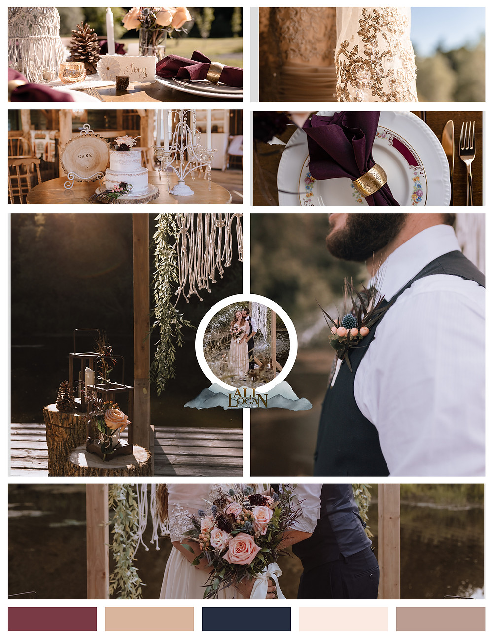 Mood Board Rustic Chic Maroon Blue Cream Elopement Rockport Barn Mallorytown Ontario Thousand Islands