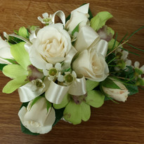 Green Orchids and Ivory Roses Wristlet.j