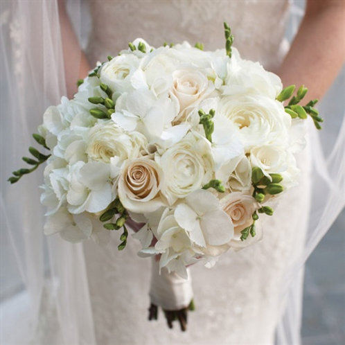 Elegant All White Bridal Bouquet