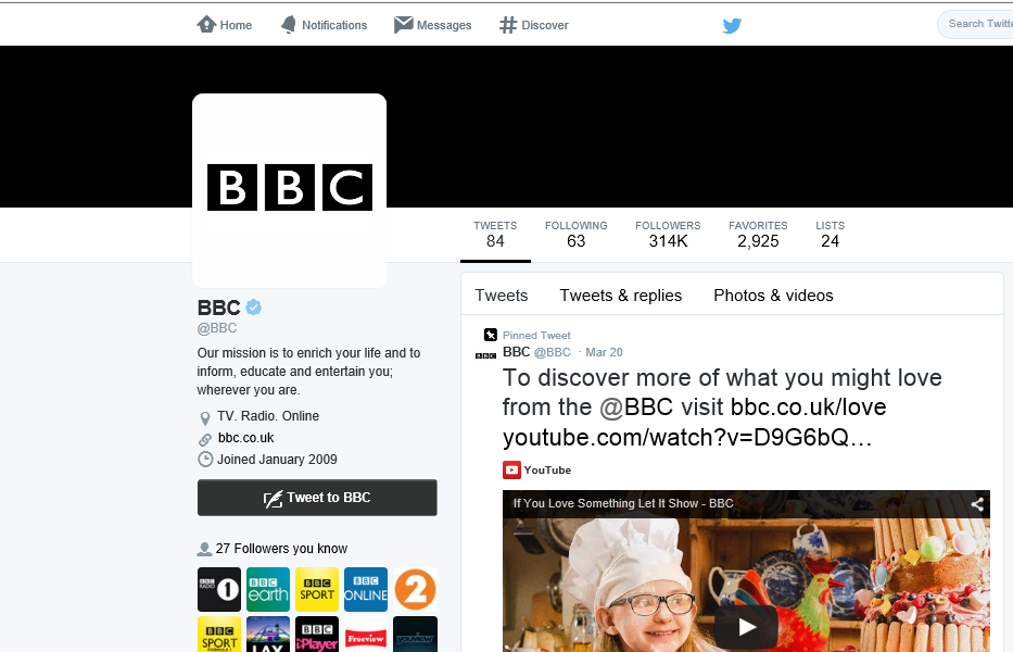 The @BBC Twitter Account