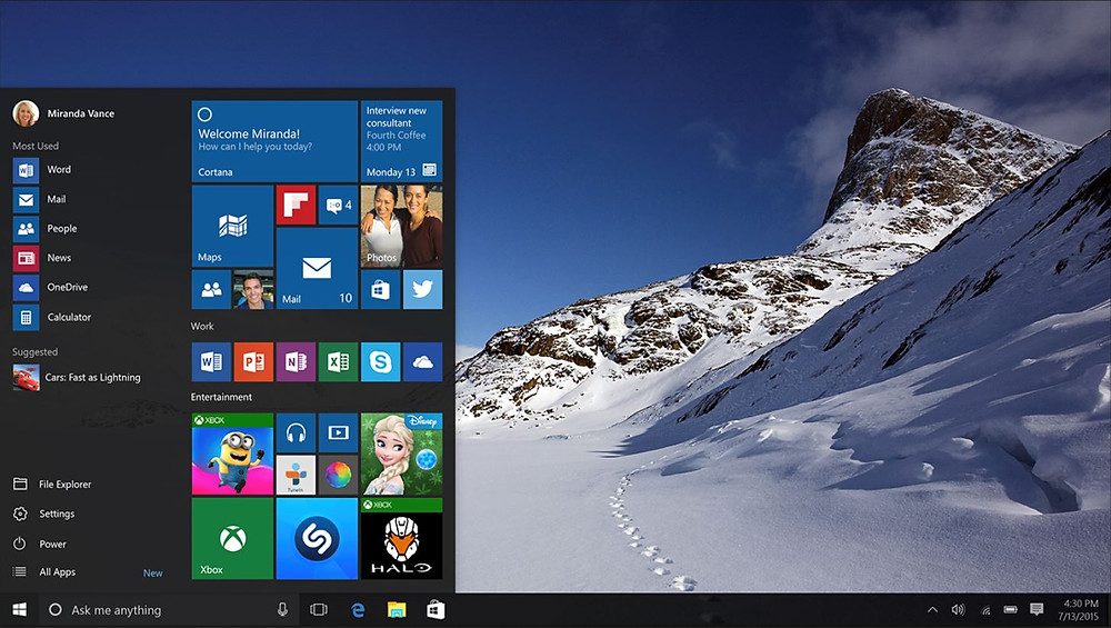 The NEW layout for Windows 10