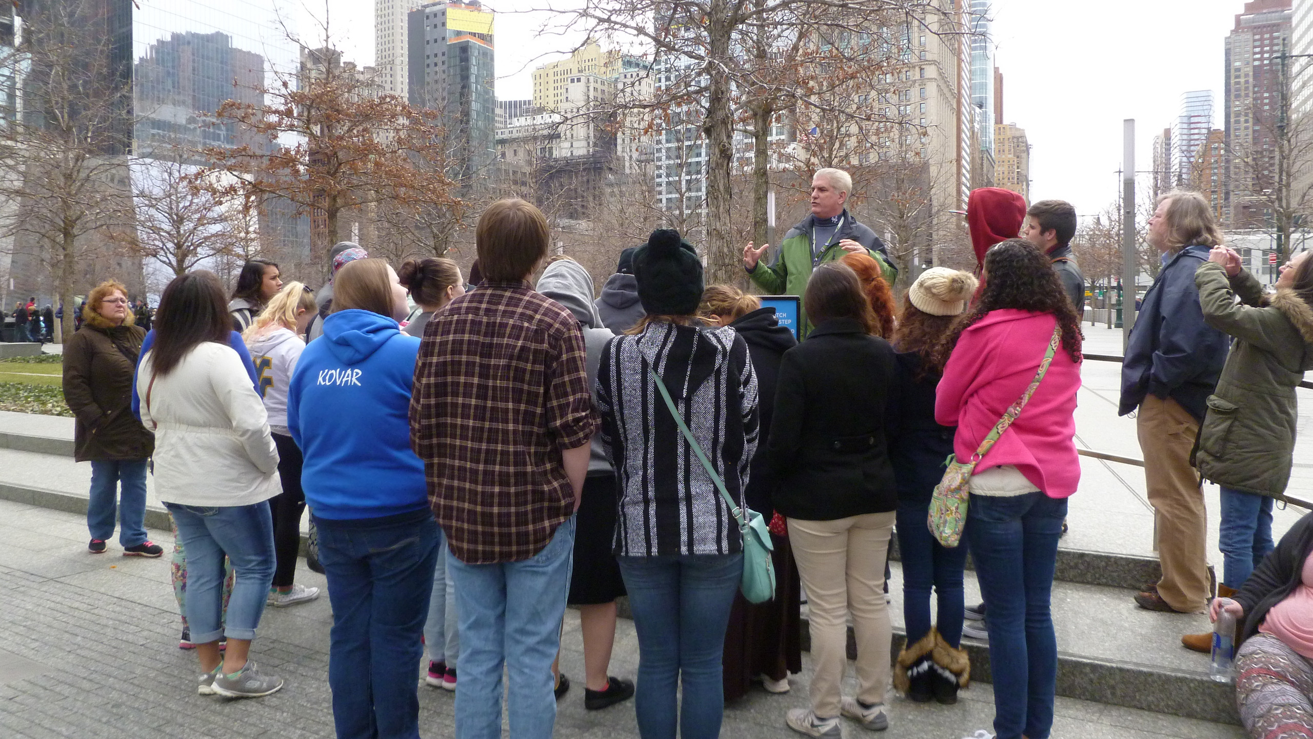 Our tour guide telling students what it was like to be in NYC on 9/11/01