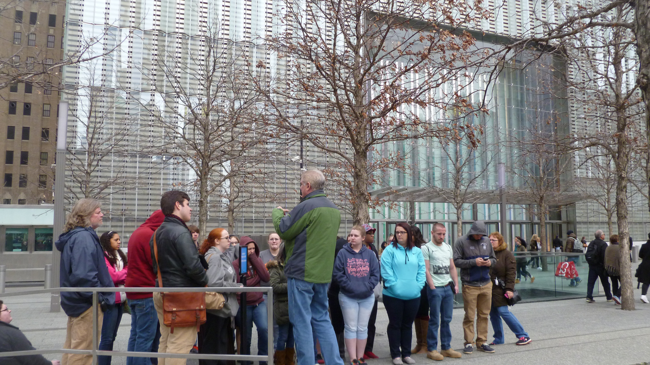 Our group in front of One World Trade Center listening to the tour guide