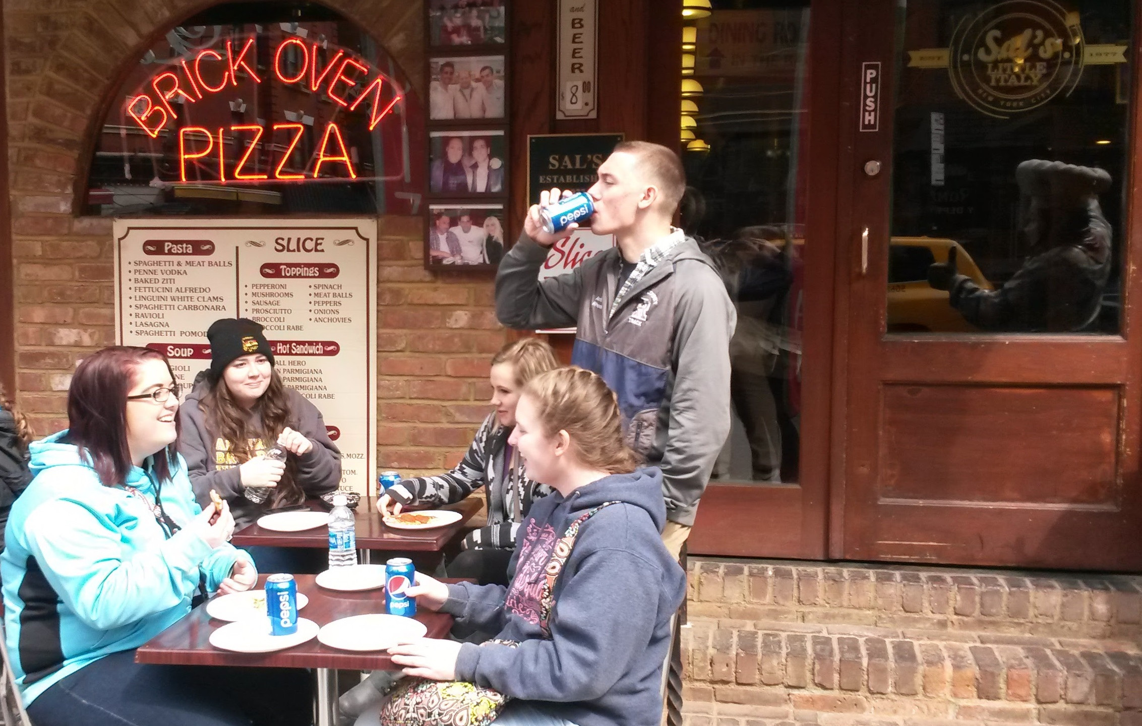 Students having lunch in Little Italy