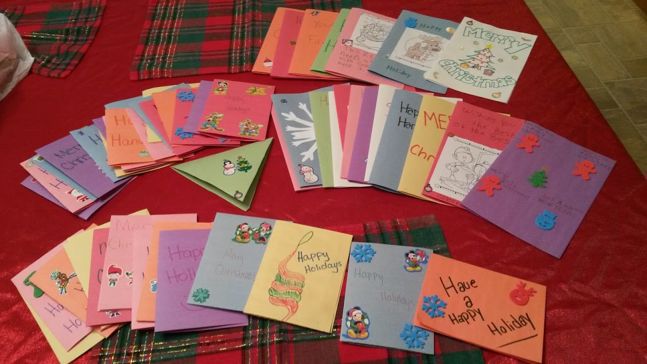 Students created homemade Christmas cards for children in the hospital over the holidays