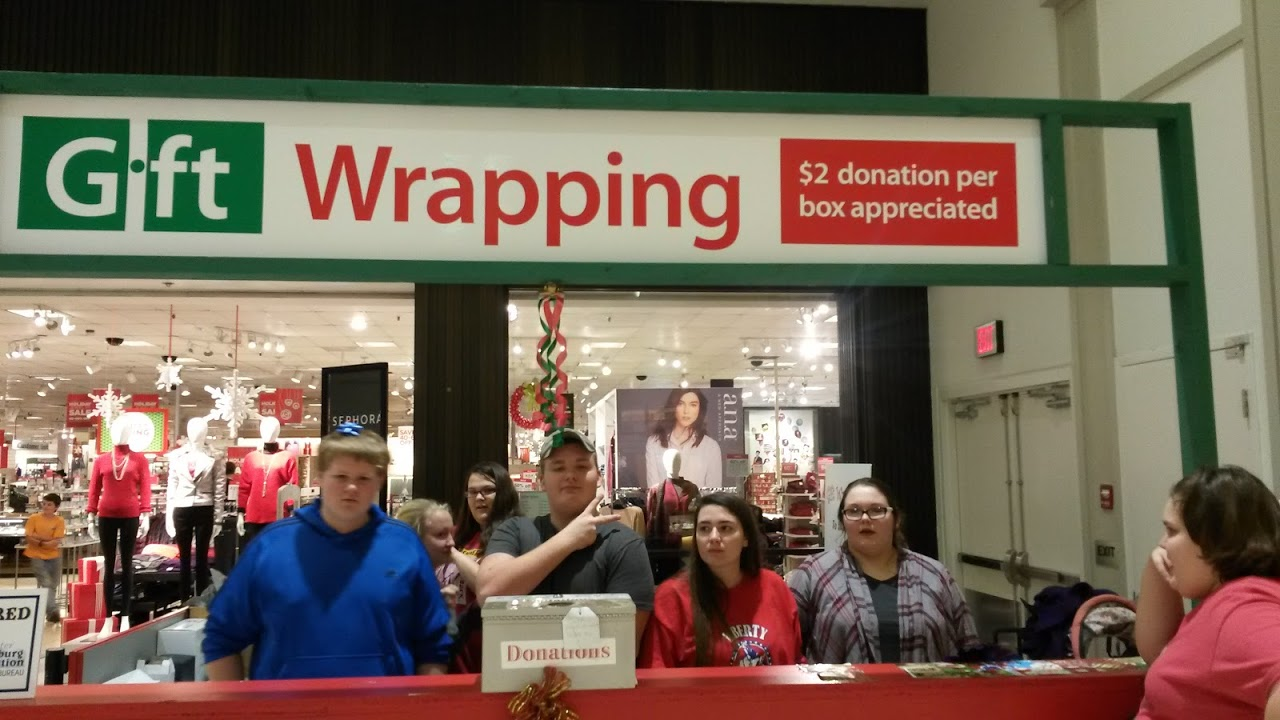 Students volunteered at the United Way's holiday gift wrapping booth