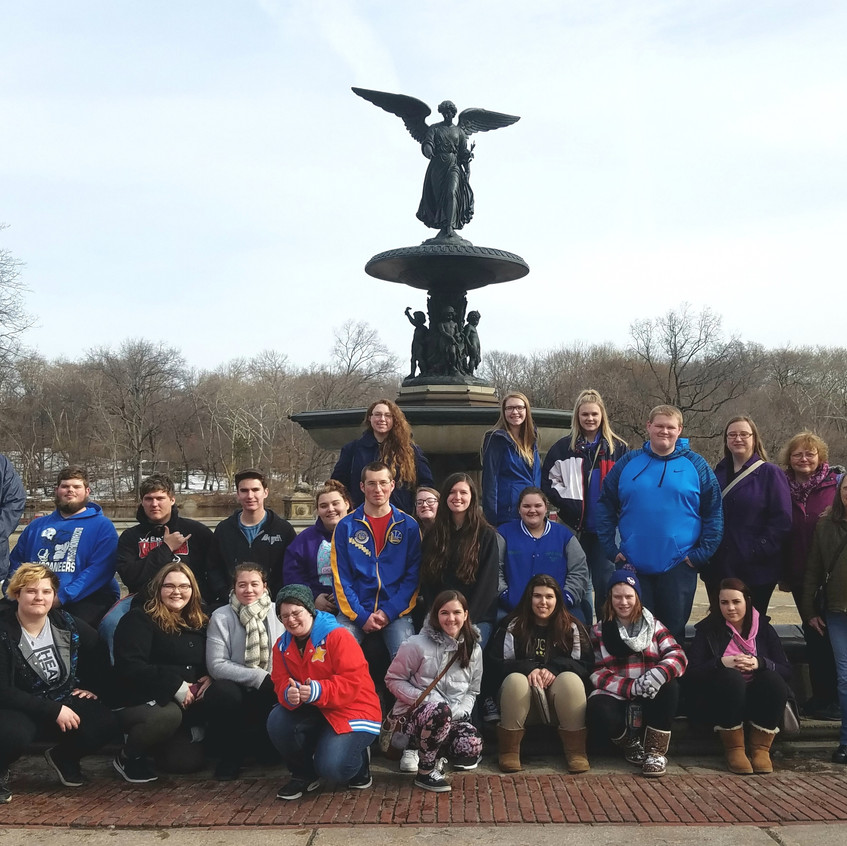 Group picture in front of Central Park fountain