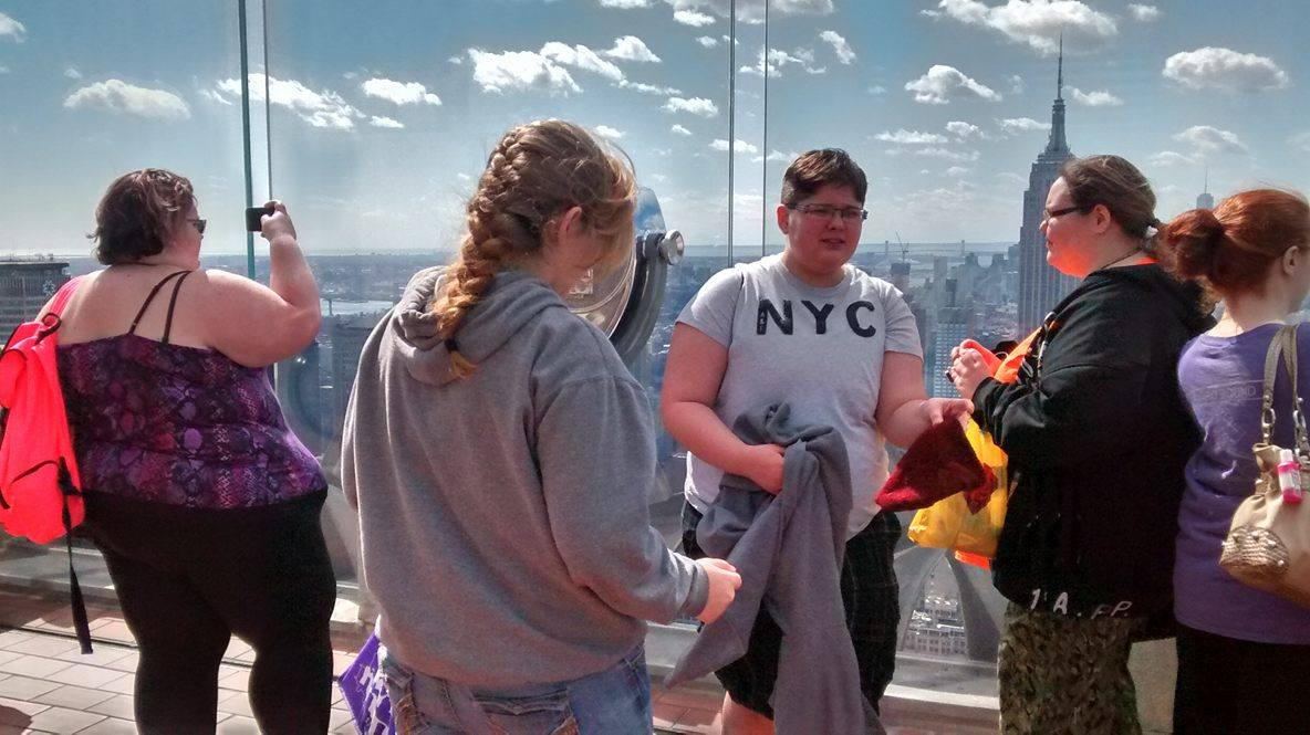 """More students enjoying the views from the """"Top of the Rock"""""""